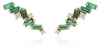 Suzanne Kalan 18kt Yellow Gold Emerald And Diamond Stud Earrings