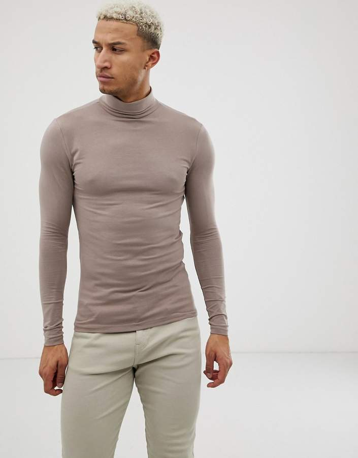 b6766e11 Mens Long Sleeve Roll Neck Tee Shirts - ShopStyle UK