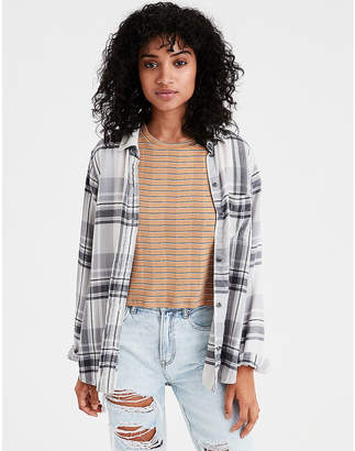American Eagle AE Ahhmazingly Soft Plaid Boyfriend Shirt
