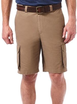 Haggar Men's Micro Sand Expandable Waist Canvas Cargo Plain Front Short