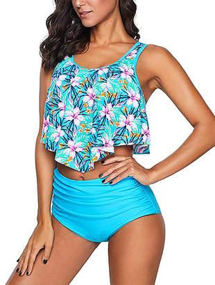 Zesica Women's Bikini Bottoms Sky - Blue Floral Crop Ruffled Overlay High-Waist Tankini - Women