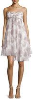 Halston Strapless Ruffled Sweetheart Dress, Mist/White