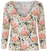 La Perla Knitwear Multicolour Floral Cashmere VNeck Jumper