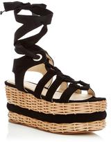Paloma Barceló Vivianne Black Suede Lace-Up Platform Sandal