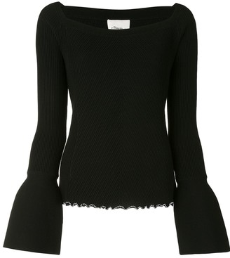 3.1 Phillip Lim Ribbed Open Neck Top