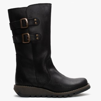 Fly London Suli Black Leather Low Wedge Calf Boots
