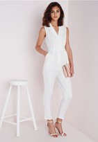Missguided Sleeveless D-Ring Wrap Jumpsuit White