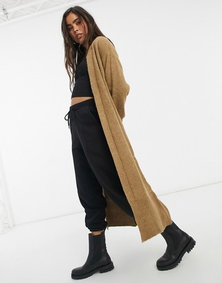 Y.A.S maxi knitted cardigan in beige