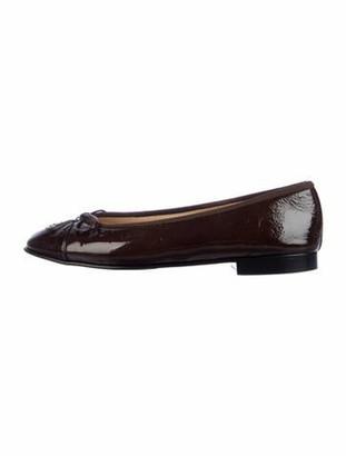 Chanel Interlocking CC Logo Patent Leather Ballet Flats Brown