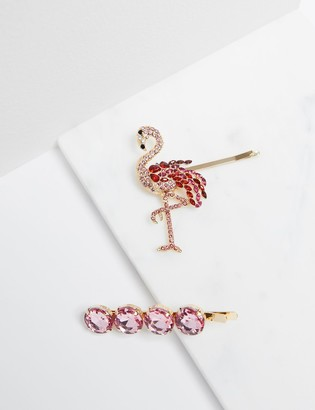 Lane Bryant Flamingo & Faceted Stone Bobby Pins - 2-Pack