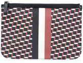 Pierre Hardy 'Cube Stripe' clutch - unisex - Calf Leather/Canvas - One Size