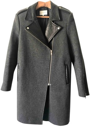 Sandro Grey Leather Coat for Women