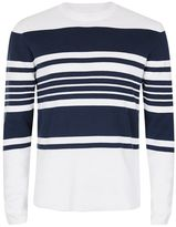 Topman White and Navy Stripe Sweater