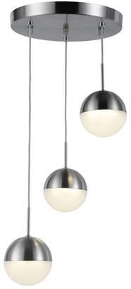 Worldwide Lighting Phantasm 7.5-Watt Matte Nickel Finish Integrated Led Iced Opal Acrylic Pendant Ceiling Light
