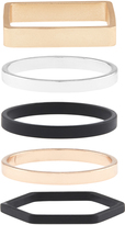 Accessorize Mixed Metal Shapes Stacking Ring Set
