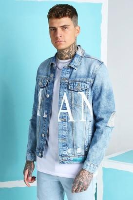 boohoo Mens Blue Regular Fit MAN Print Denim Jacket, Blue