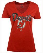 Majestic Women's New Jersey Devils Match Penalty Glitter T-Shirt
