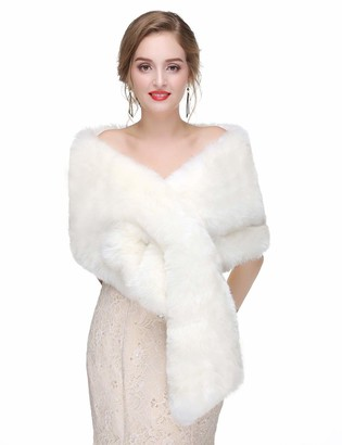 Cathercing Sither Faux Fur Shawl Wrap Stole Shrug Winter Bridal Wedding Cover Up Women Wedding Faux Fur Wraps and Shawls Bridal Fur Stoles Scarf with Rhinestone Brooch Party (ivory)