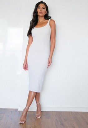 Missguided Cream Cosy Knit Midaxi Dress