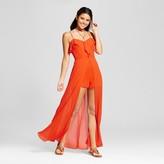 XOXO Women's Ruffle Romper Maxi Overlay Juniors') Orange