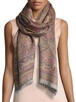 Sabira Chai Paisley Wool Stole, Fuchsia