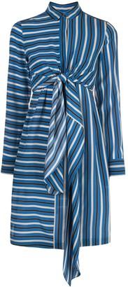 Akris Punto silk striped mini shirt dress