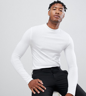 Asos DESIGN Tall muscle fit long sleeve jersey turtleneck in white