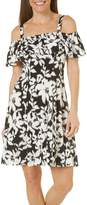 London Times Women's Off The Shoulder Jersey Fit & Flare Dress