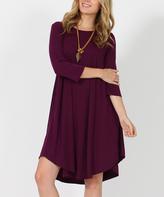 Dark Plum Three-Quarter Sleeve Side-Pocket Swing Tunic Dress