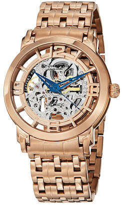 Stuhrling Original Stainless Steel Rose Tone Case on Polished Link Bracelet, Rose Tone Skeletonized Spoke-Style Dial, with Blue Accents