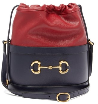 Gucci 1955 Horsebit Bi-colour Leather Bucket Bag - Blue Multi