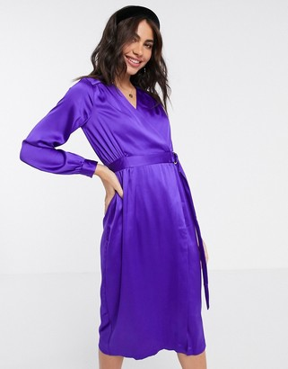 Closet London satin wrap dress in purple