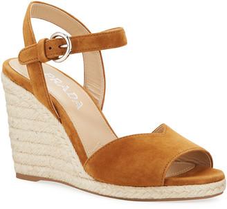 Prada Suede Espadrille Wedge Sandals