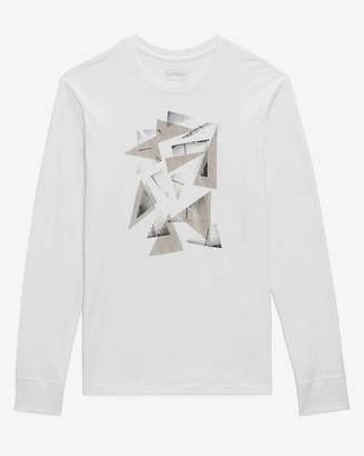 Express White Shattered Long Sleeve Graphic T-Shirt
