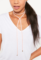 Missguided Pink Velvet Wrap Choker Necklace