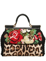 Dolce & Gabbana Miss Sicily Cross Stitched Top Handle