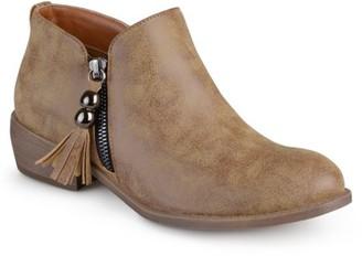 Brinley Co. Women's Zipper Faux Leather Ankle Boots