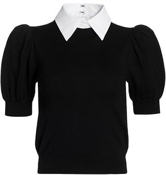 Alice + Olivia Chase Puff-Sleeve Sweater