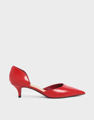 Charles & Keith Patent D'Orsay Kitten Heel Pumps