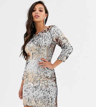 Little Mistress Petite ombre sequin midi bodycon dress-Multi