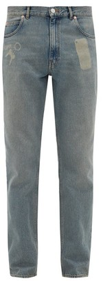 Martine Rose Faded Straight-leg Cotton Jeans - Mens - Blue