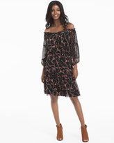 White House Black Market Off-the-Shoulder Mixed Floral Print Dress