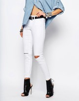 Noisy May Devil High Waist Skinny Jeans With Slit Knees