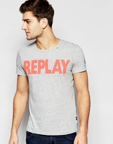 Replay T-Shirt Crew Neck Logo Print in Gray Melange