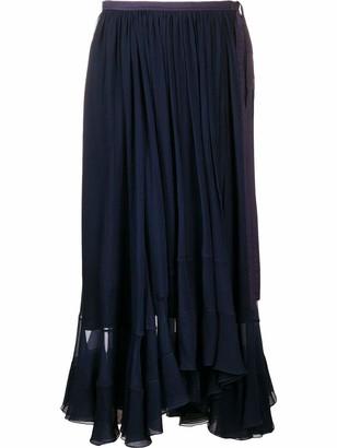 Chloé High Waisted Silk Midi Skirt with Tie