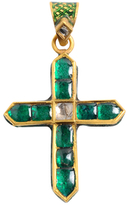 Amrita Singh 22K Yellow Gold, Uncut Diamond & Emerald Cross Pendant