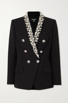 Balmain Double-breasted Crystal-embellished Cady Blazer - Black