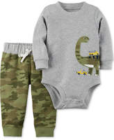 Carter's 2-Pc. Cotton Dinosaur Bodysuit and Camo-Print Jogger Pants Set, Baby Boys (0-24 months)