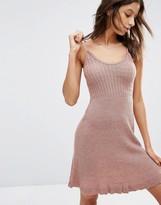 Asos Cami Dress In Metallic Knit