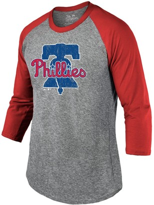 Majestic Men's Threads Heathered Gray/Red Philadelphia Phillies Current Logo Tri-Blend 3/4-Sleeve Raglan T-Shirt